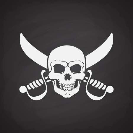 skull and crossed bones: Silhouette of skull Jolly Roger with crossed sabers at the behind on a blackboard Illustration