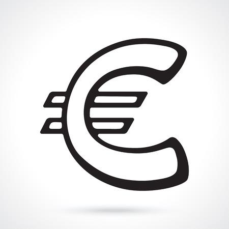 Silhouette of European euro sign