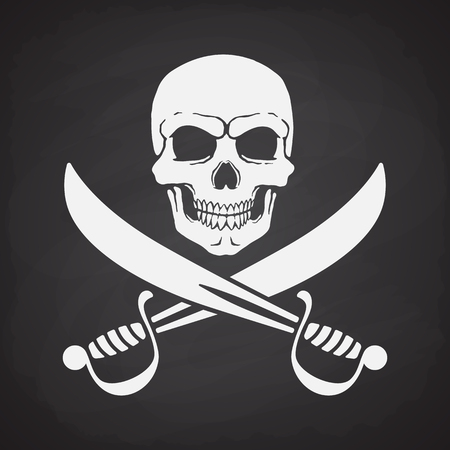 rapier: Silhouette of skull Jolly Roger with crossed sabers at the bottom on a blackboard Illustration