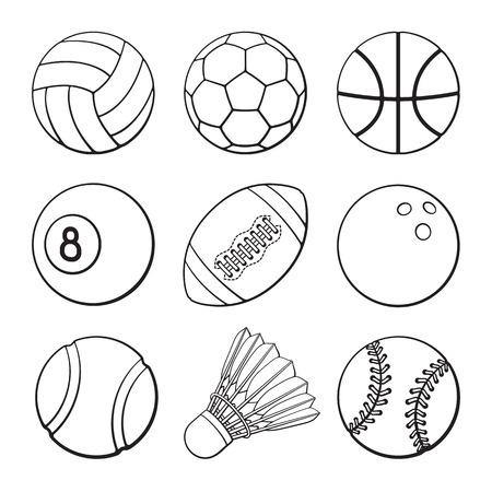 A Vector illustration. Hand drawn doodles of football, soccer, basketball, volleyball, baseball, tennis, badminton, bowling and billiards balls. Set of sports balls. Cartoon sketch