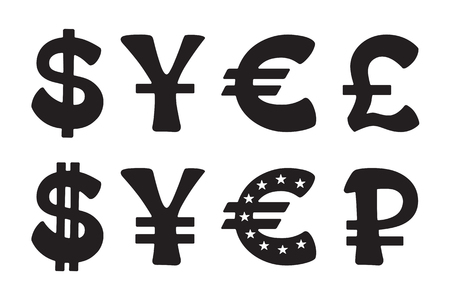 Sign of American dollar, European euro, Japanese yen and Chinese yuan, Russian ruble and British pound. Vector illustration set. Silhouettes signs of world currencies Illustration