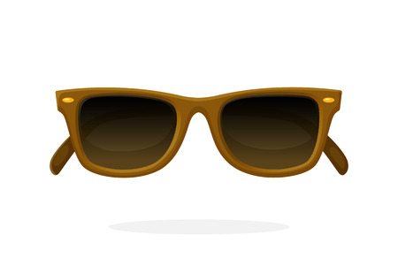 eyewear: Retro sunglasses with brown horn-rimmed frames and brown lenses. Vector illustration in cartoon style.