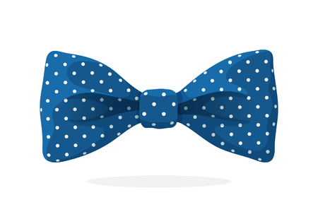 Blue bow tie with print a polka dots. Vector illustration in cartoon style. Vintage elegant bowtie. Mens clothing accessories.