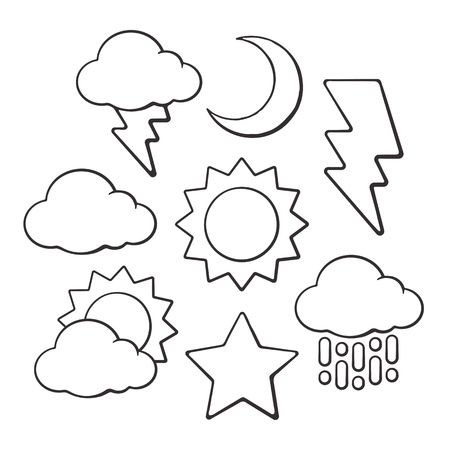 Hand drawn doodles of weather symbols. Vector illustration set. Sketch of sun and crescent, star, cloud, rain and lightning. Isolated on white background. Illustration