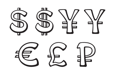 Sign of American dollar, European euro, Japanese yen and Chinese yuan, Russian ruble and British pound. Illustration