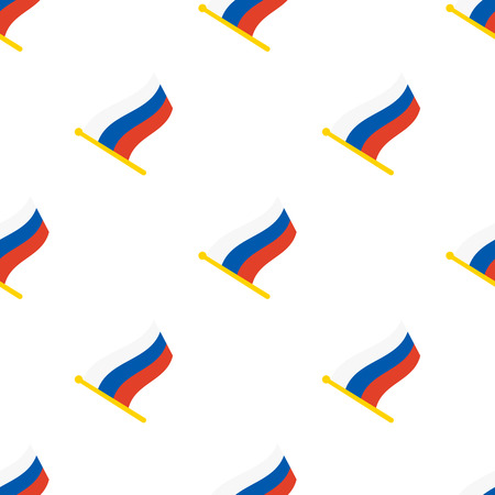 geolocation: Vector illustration. Seamless pattern with flags of Russia on flagstaff on white background