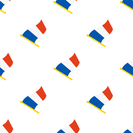 geolocation: Vector illustration. Seamless pattern with flags of France on flagstaff on white background Illustration