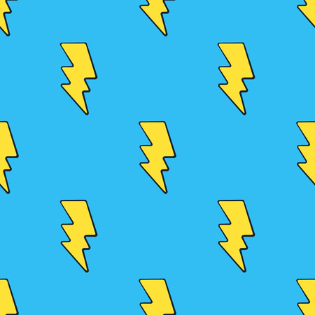 Vector illustration. Seamless pattern with cute yellow electric lightning bolts at pop art style on blue background. Weather symbol. Pattern with contour
