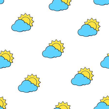 Vector illustration. Seamless pattern with suns disappeared behind a blue clouds on white background. Weather symbol. Pattern with contour Ilustração