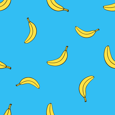Vector illustration. Seamless pattern with falling yellow not peeled banana in pop art style on blue background. Healthy vegetarian food. Pattern with contour
