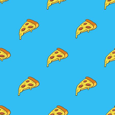 벡터 일러스트 레이 션. 파란색 배경에 팝 아트 스타일에서 피자 조각와 원활한 패턴. 패스트 푸드와 이탈리아 요리. 윤곽선이있는 패턴