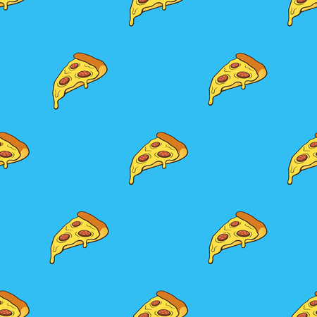 Illustration vectorielle. Modèle sans couture avec tranche de pizza dans le style pop art sur fond bleu. Restauration rapide et cuisine italienne. Motif avec contour