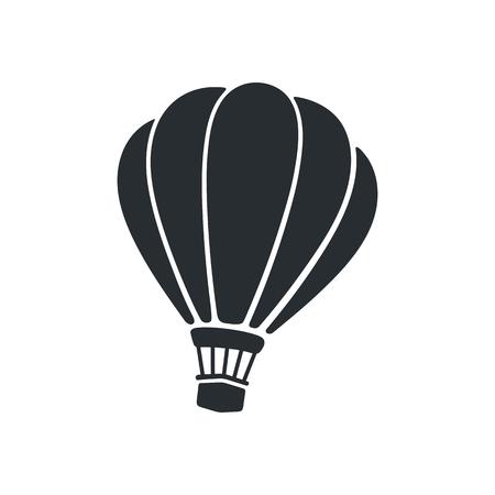 벡터 일러스트 레이 션. 뜨거운 공기 풍선의 실루엣입니다. 여행을위한 항공 운송.
