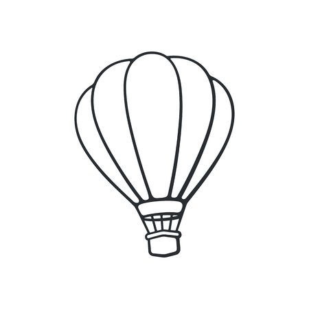 벡터 일러스트 레이 션. 뜨거운 공기 풍선의 손으로 그린 낙서. 여행을위한 항공 운송. 만화 스케치입니다. 흰 배경에 고립
