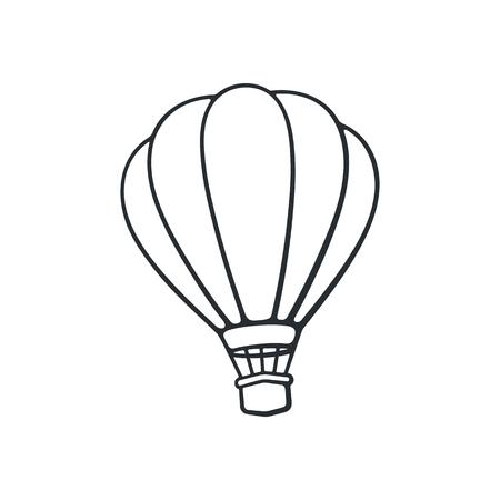 Illustration vectorielle Doodle dessiné main de ballon à air chaud. Transport aérien pour le voyage. Croquis de dessin animé. Isolé sur fond blanc Banque d'images - 84872630