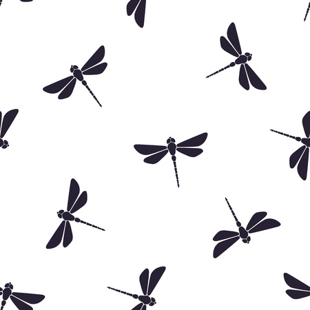 Seamless vector illustration. Pattern with silhouettes of flying dragonfly with a straight body on white background 版權商用圖片 - 85096703