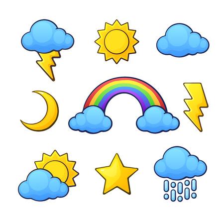 Conjunto de ilustración vectorial. Símbolos meteorológicos en estilo de dibujos animados con contorno. Sol, media luna, estrella, nube, lluvia, arco iris, nube con lluvia y relámpagos. Aislado en el fondo blanco