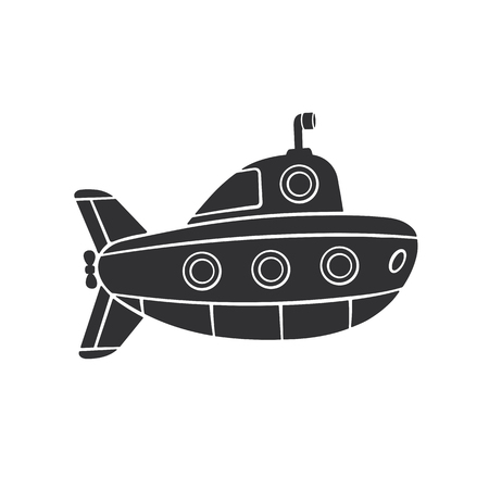 Silhouette of submarine with periscope and portholes Illustration