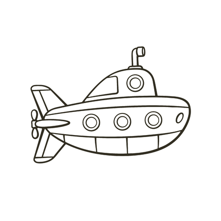 Vector illustration. Hand drawn doodle of submarine with periscope and portholes. Cartoon sketch. Isolated on white background Illustration