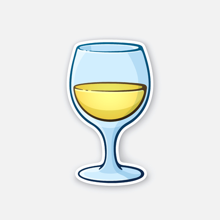 Vector illustration. A glass of white wine. Glass goblet of alcohol drink. Sticker in cartoon style with contour. Isolated on white background
