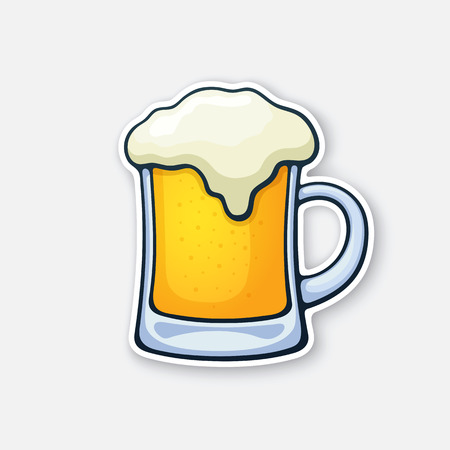 Vector illustration. A mug of beer with foam. Glass of alcohol drink. Classic foam drink of pubs and bars. Sticker in cartoon style with contour. Isolated on white background Çizim