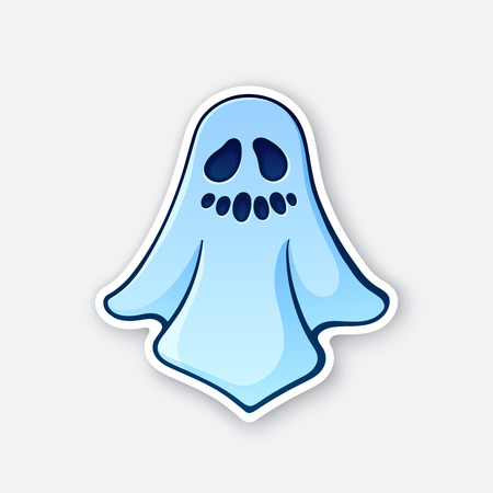Vector illustration. Halloween scary ghost with evil smile. Poltergeist in bedsheet. Sticker in cartoon style with contour. Isolated on white background