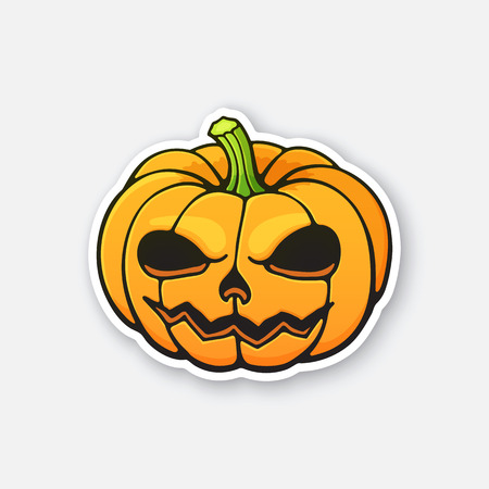 Vector illustration. Halloween scary pumpkin with evil smile. Jack-o-lantern the spooky symbol of holiday. Sticker in cartoon style with contour. Isolated on white background