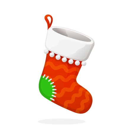 Flat Christmas red sock for gifts.