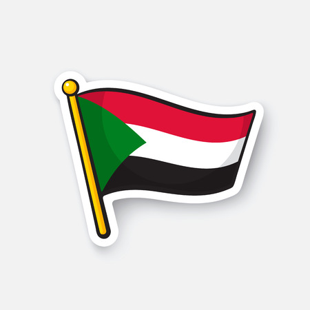 Vector illustration. Flag of Sudan. Countries in Africa. Location symbol for travelers. Isolated on white background. Cartoon sticker with contour. Decoration for greeting cards, patches, prints