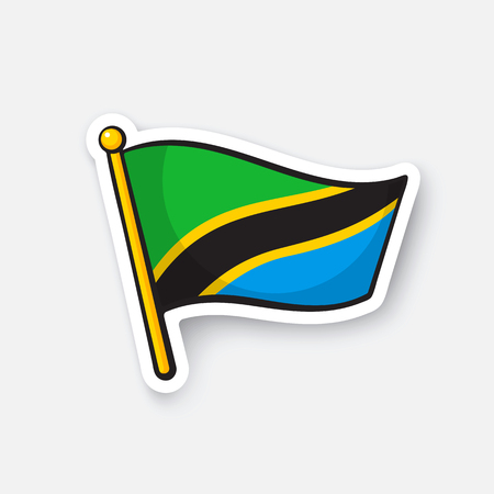 Vector illustration. Flag of Tanzania. Countries in Africa. Location symbol for travelers. Isolated on white background. Cartoon sticker with contour. Decoration for greeting cards, patches, prints
