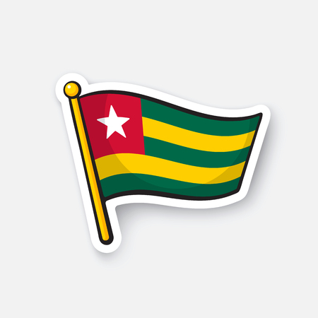 Vector illustration. Flag of Togo. Countries in Africa. Location symbol for travelers. Isolated on white background. Cartoon sticker with contour. Decoration for greeting cards, patches, prints