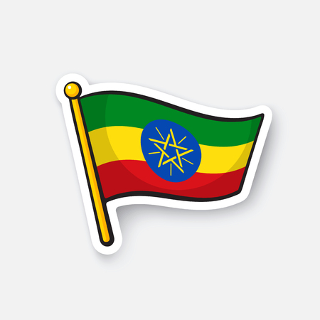 Vector illustration. Flag of Ethiopia. Countries in Africa. Location symbol for travelers. Isolated on white background. Cartoon sticker with contour. Decoration for greeting cards, patches, prints