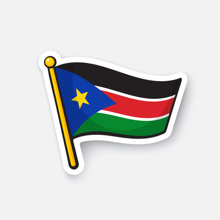 Vector illustration. Flag of South Sudan. Countries in Africa. Location symbol for travelers. Isolated on white background. Cartoon sticker with contour. Decoration for greeting cards, patches, prints