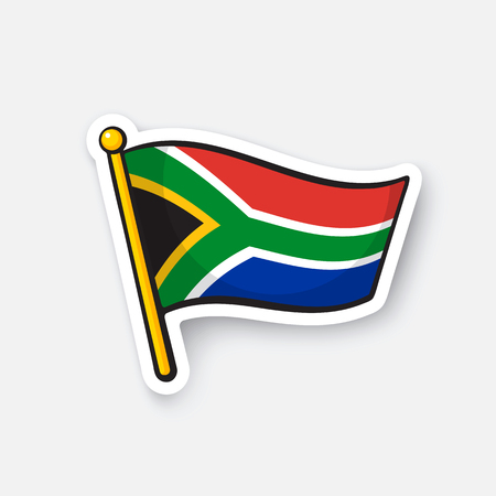 Vector illustration. Flag of South Africa. Countries in Africa. Location symbol for travelers. Isolated on white background. Cartoon sticker with contour. Decoration for greeting cards, patches 일러스트