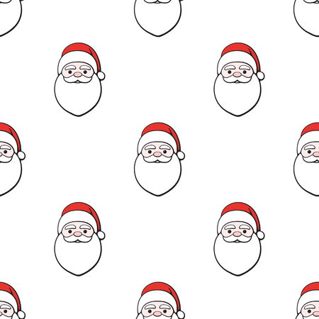 Seamless vector illustration. Pattern with Heads of Santa Claus on white background. Spirit of Christmas. Drawing with contour Illustration