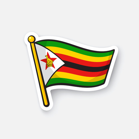 Vector illustration. Flag of Zimbabwe. Location symbol for travelers. Isolated on white background. Cartoon sticker with contour. Decoration for greeting cards, patches, prints for clothes Illustration