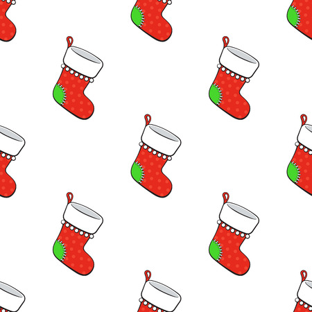 Seamless vector illustration. Pattern with Christmas red socks for gifts on white background. Tradition New Year accessory for presents. Drawing with contour