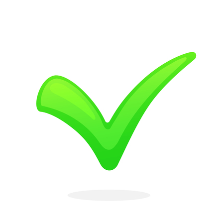Vector illustration in flat style Green check mark for indicating right choice