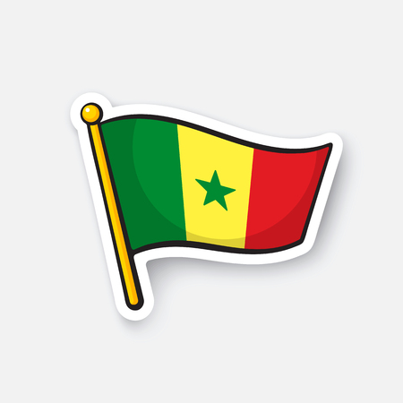 Vector illustration. Flag of Senegal. Countries in Africa. Location symbol for travelers. Isolated on white background. Cartoon sticker with contour. Decoration for greeting cards, patches, prints Illustration