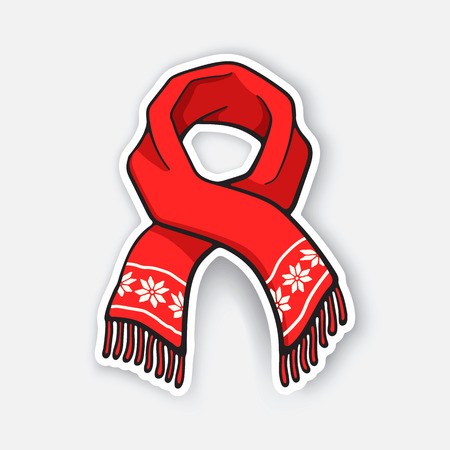 Vector illustration. Red winter scarf with snowflake pattern. Christmas accessory made of wool for cold weather. Sticker in cartoon style with contour. Isolated on white background 向量圖像