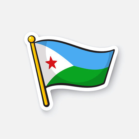 Vector illustration. Flag of Djibouti. Countries in Africa. Location symbol for travelers. Isolated on white background. Cartoon sticker with contour. Decoration for greeting cards, patches, prints