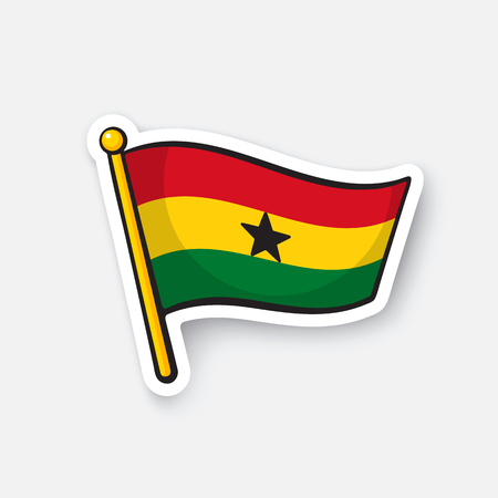 Vector illustration. Flag of Ghana. Countries in Africa. Location symbol for travelers. Isolated on white background. Cartoon sticker with contour. Decoration for greeting cards, patches, prints