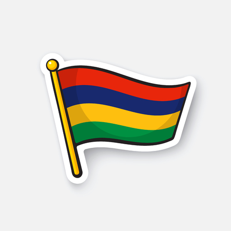 Vector illustration. National flag of Mauritius. Countries in Africa. Location symbol for travelers. Isolated on white background. Cartoon sticker with contour. Decoration for patches, prints