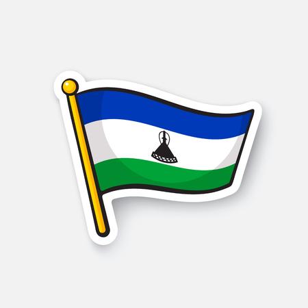 Sticker national flag of Lesotho Illustration