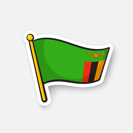 Sticker national flag of Zambia