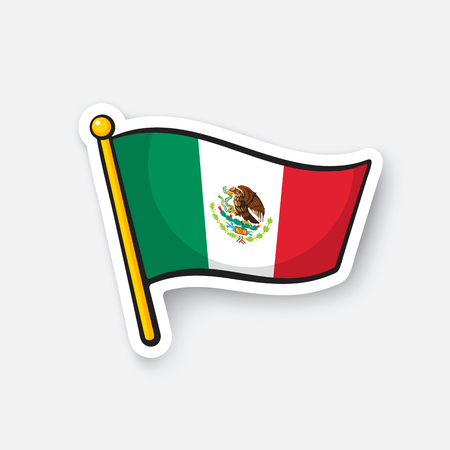 Sticker national flag of Mexico Illustration