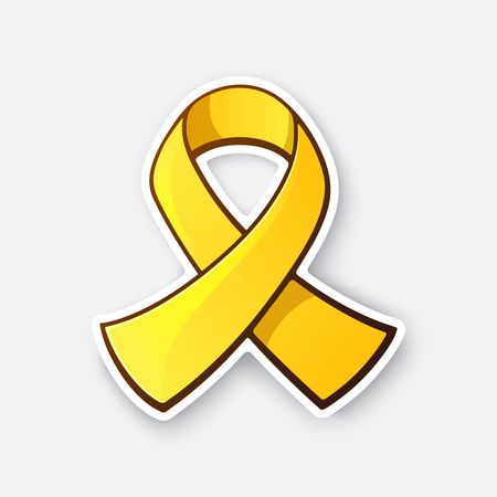 Sticker of gold ribbon, symbol of Childhood Cancer