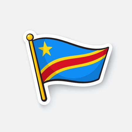 Sticker national flag of Democratic Republic of the Congo Illustration