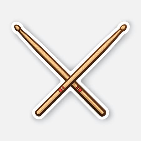 Sticker of crossed wooden drumsticks  イラスト・ベクター素材