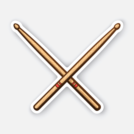 Sticker of crossed wooden drumsticks Иллюстрация